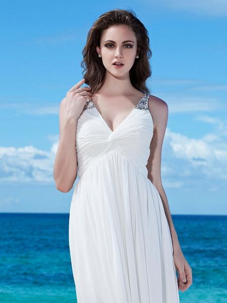 A-Line Wedding Dresses V Neck Floor Length Chiffon Regular Straps Casual Beach Backless_5