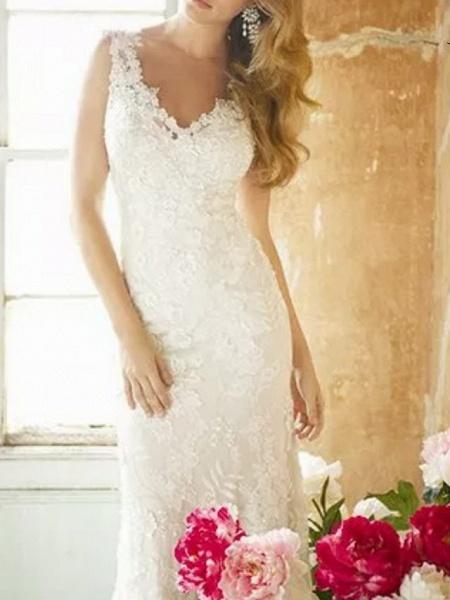 Sheath \ Column Wedding Dresses V Neck Sweep \ Brush Train Lace Polyester Sleeveless Country Plus Size_2