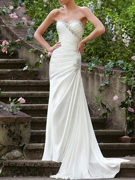 Mermaid \ Trumpet Wedding Dresses Strapless Sweep \ Brush Train Chiffon Over Satin Sleeveless Formal Sexy_1