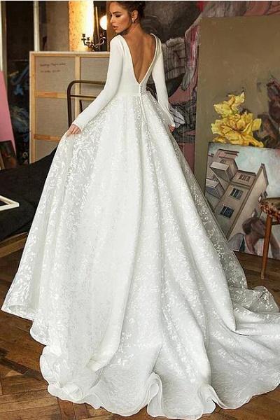 Long Sleeve V-neck Boho Bridal Gowns Satin Backless Lace Wedding Dress_3