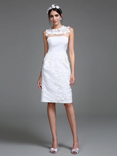 Sheath \ Column Wedding Dresses Jewel Neck Short \ Mini Chiffon Regular Straps Romantic Casual See-Through Plus Size Backless_1