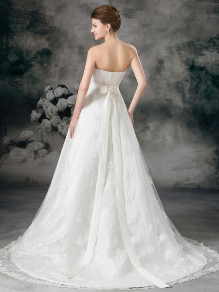A-Line Sweetheart Neckline Court Train Lace Satin Strapless Wedding Dresses_4