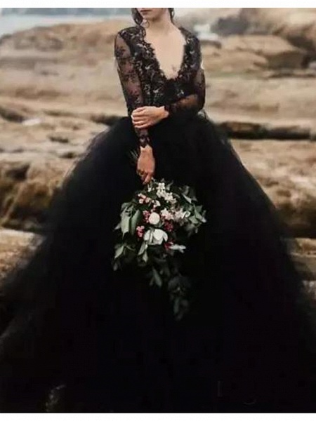 A-Line Wedding Dresses Plunging Neck Sweep \ Brush Train Polyester Long Sleeve Country Plus Size Black_1