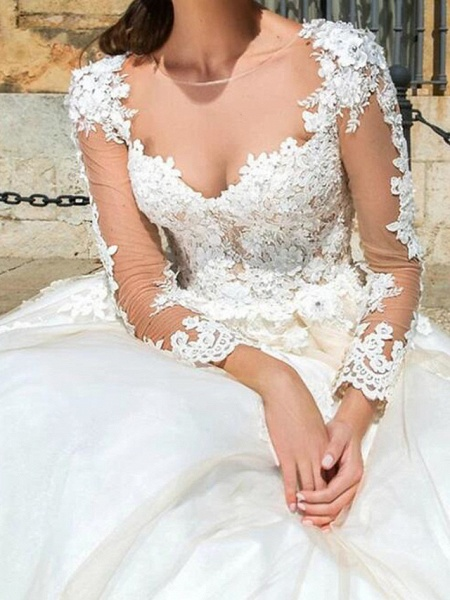 A-Line Wedding Dresses Jewel Neck Court Train Lace Tulle Long Sleeve Formal See-Through_3