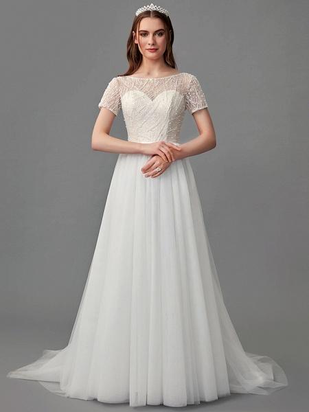 A-Line Wedding Dresses Jewel Neck Sweep \ Brush Train Lace Satin Tulle Short Sleeve 3\4 Length Sleeve Sexy_4