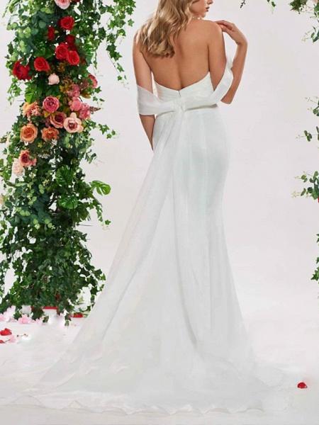 Mermaid \ Trumpet Wedding Dresses Off Shoulder Sweep \ Brush Train Organza Satin Sleeveless Sexy Backless_2