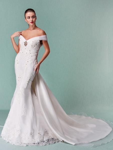 Mermaid \ Trumpet Wedding Dresses Off Shoulder Chapel Train Organza Short Sleeve_5