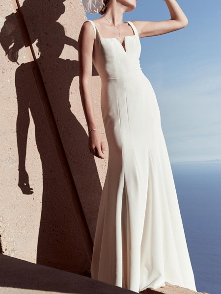 Sheath \ Column Wedding Dresses V Wire Floor Length Satin Sleeveless Country Beach Plus Size_1