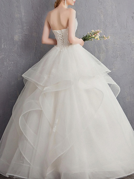 A-Line Wedding Dresses Strapless Floor Length Tulle Regular Straps_4