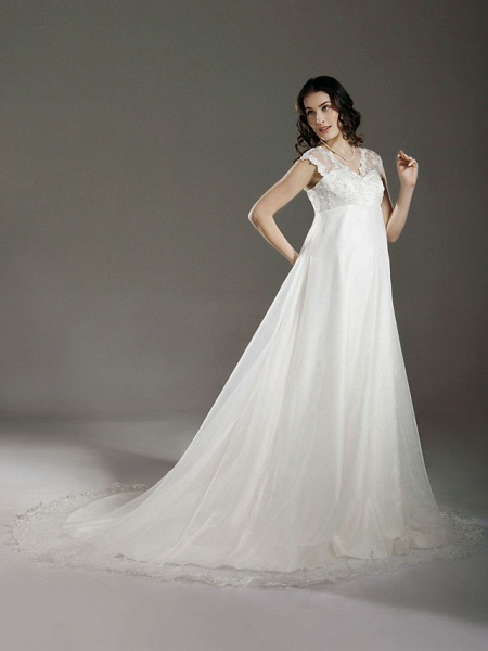 A-Line Wedding Dresses V Neck Court Train Lace Organza Regular Straps See-Through_3