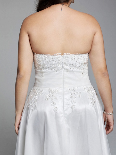 A-Line Wedding Dresses Strapless Asymmetrical Lace Tulle Strapless Little White Dress Open Back_7