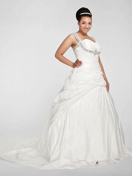 Ball Gown Sweetheart Neckline Chapel Train Taffeta Sleeveless Sparkle & Shine Wedding Dresses_4