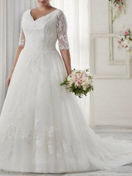 A-Line Wedding Dresses V Neck Sweep \ Brush Train Tulle Half Sleeve Illusion Sleeve_1