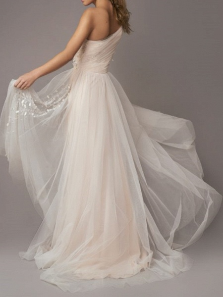 A-Line Wedding Dresses One Shoulder Sweep \ Brush Train Tulle Sleeveless Country Backless_3