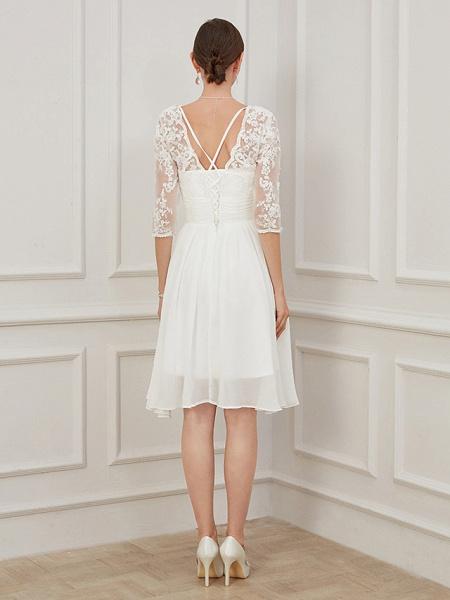 A-Line Wedding Dresses V Neck Knee Length Chiffon Lace Half Sleeve Formal Plus Size Illusion Sleeve_4