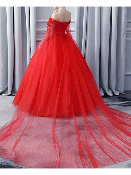 A-Line Wedding Dresses Off Shoulder Court Train Lace Tulle Sleeveless Casual Plus Size Red_2