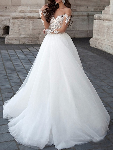 A-Line Wedding Dresses Strapless Floor Length Lace Tulle Long Sleeve Formal Illusion Sleeve_1