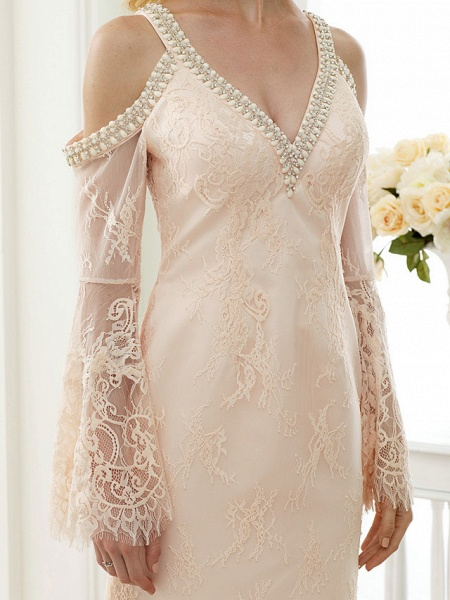 Sheath \ Column Wedding Dresses Plunging Neck Sweep \ Brush Train Sheer Lace Long Sleeve Wedding Dress in Color Open Back Floral Lace_8