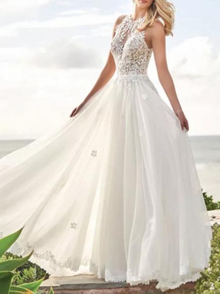 A-Line Wedding Dresses Jewel Neck Sweep \ Brush Train Lace Satin Tulle Sleeveless Beach_1