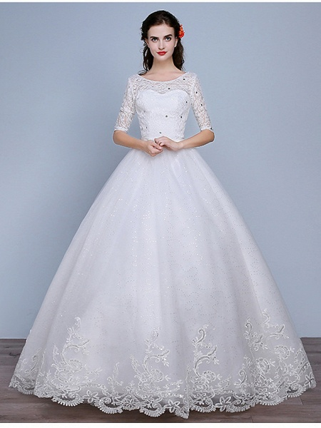 Ball Gown Wedding Dresses Scoop Neck Floor Length Lace Tulle Polyester Half Sleeve Romantic_1