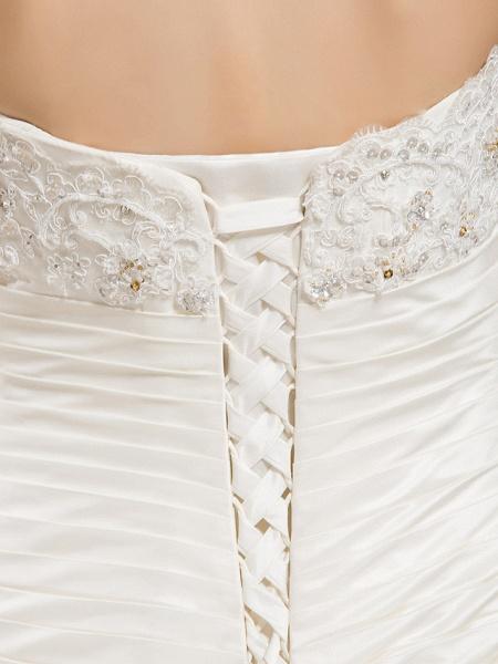 Ball Gown Sweetheart Neckline Court Train Taffeta Sleeveless Wedding Dresses_8