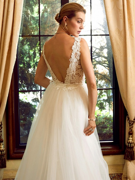 Sheath \ Column V Neck Chapel Train Lace Tulle Regular Straps See-Through Wedding Dresses_7