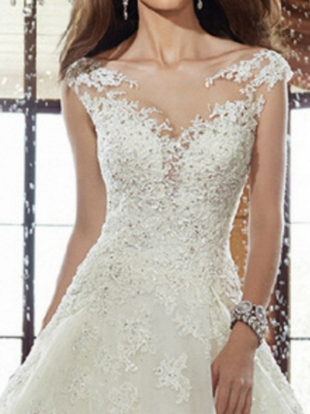 A-Line Wedding Dresses V Neck Sweep \ Brush Train Lace Cap Sleeve Simple Backless_3