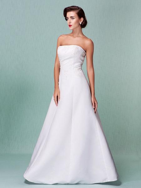 A-Line Wedding Dresses Strapless Floor Length Lace Over Satin Strapless Formal Simple Vintage Little White Dress Plus Size_8