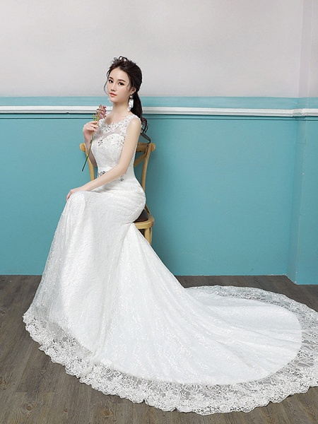 Mermaid \ Trumpet Wedding Dresses Scoop Neck Sweep \ Brush Train Lace Tulle Polyester Sleeveless Romantic Glamorous Sexy_2