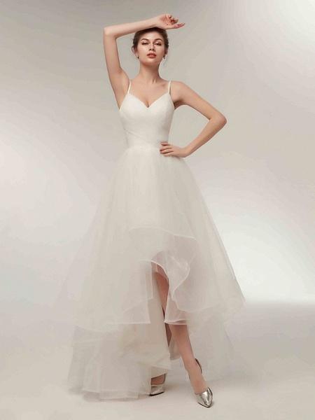 A-Line Wedding Dresses V Neck Asymmetrical Tulle Spaghetti Strap Simple Casual Little White Dress_4