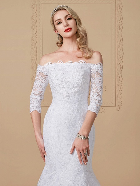 Mermaid \ Trumpet Wedding Dresses Off Shoulder Court Train Lace Sequined 3\4 Length Sleeve Romantic Plus Size Illusion Sleeve_4