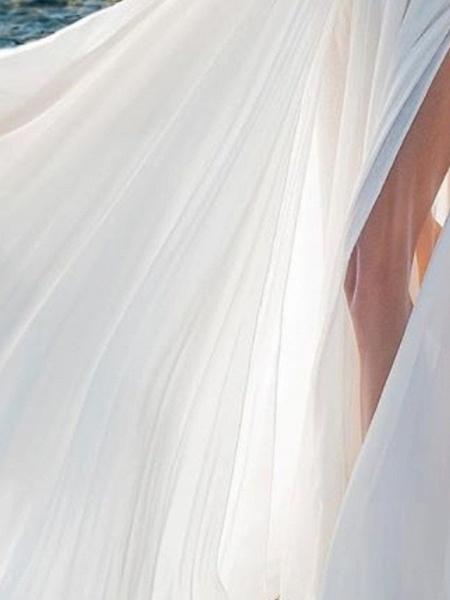 A-Line Wedding Dresses V Neck Sweep \ Brush Train Chiffon Over Satin Long Sleeve Simple Beach Sexy See-Through_2