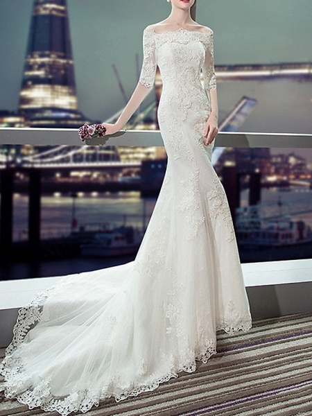 Mermaid \ Trumpet Wedding Dresses Off Shoulder Sweep \ Brush Train Lace Half Sleeve Beach Illusion Sleeve_1