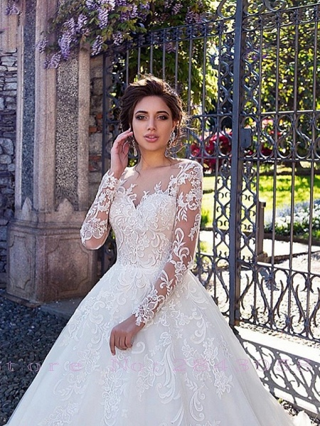 Ball Gown Jewel Neck Court Train Lace Tulle Long Sleeve Plus Size Illusion Sleeve Wedding Dresses_3
