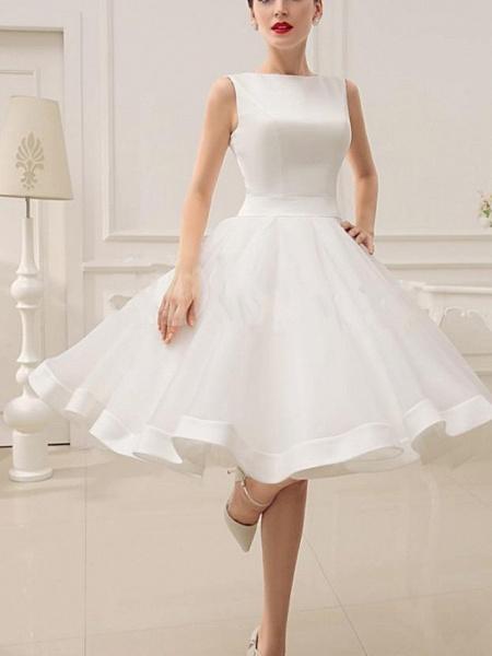 A-Line Wedding Dresses Jewel Neck Short \ Mini Satin Sleeveless Vintage Little White Dress 1950s_2