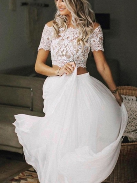 Two Piece Wedding Dresses Jewel Neck Sweep \ Brush Train Chiffon Lace Short Sleeve Beach Boho Sexy See-Through_1