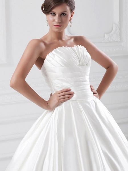 Ball Gown Wedding Dresses Strapless Court Train Satin Strapless Plus Size_5
