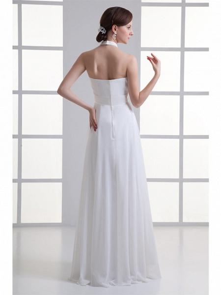 A-Line Wedding Dresses Halter Neck Floor Length Chiffon Satin Strapless_3
