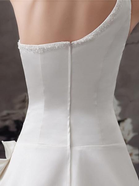 A-Line Wedding Dresses One Shoulder Sweep \ Brush Train Satin Spaghetti Strap_6