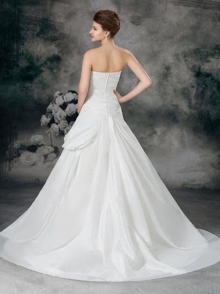 A-Line Sweetheart Neckline Court Train Satin Taffeta Strapless Wedding Dresses_4