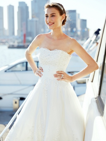 A-Line Wedding Dresses Strapless Asymmetrical Tulle Strapless Casual Beach Little White Dress Backless_11