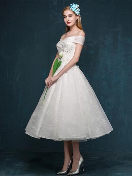 A-Line Wedding Dresses Off Shoulder Tea Length Beaded Lace Short Sleeve Casual Vintage Plus Size Cute_7