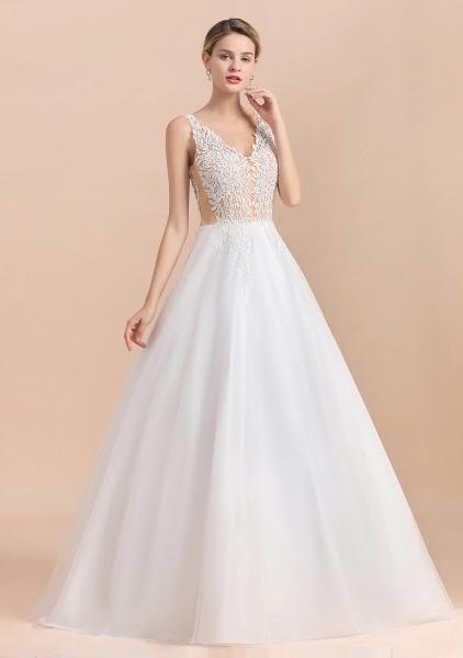 A-line Straps Tulle Appliques V-Neck Lace Boho Wedding Dress_9