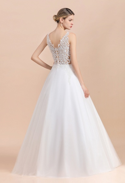 Elegant Sleeveless A-line Floral Appliques Wedding Dress_6