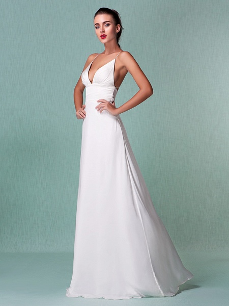 Sheath \ Column Wedding Dresses V Neck Floor Length Chiffon Spaghetti Strap Sexy Backless_8