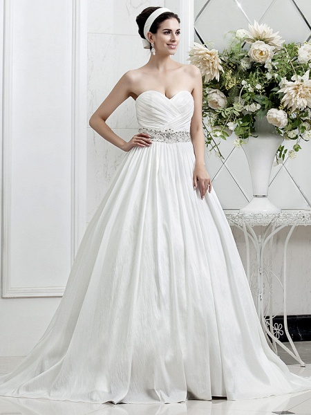 Princess A-Line Wedding Dresses Sweetheart Neckline Court Train Taffeta Sleeveless_1