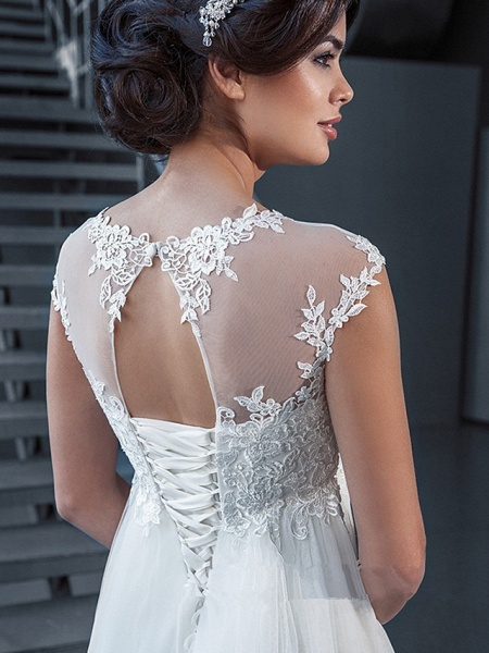 A-Line Wedding Dresses Off Shoulder Court Train Lace Tulle Sleeveless Sexy_2