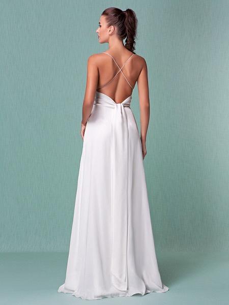 Sheath \ Column Wedding Dresses V Neck Floor Length Chiffon Spaghetti Strap Sexy Backless_2