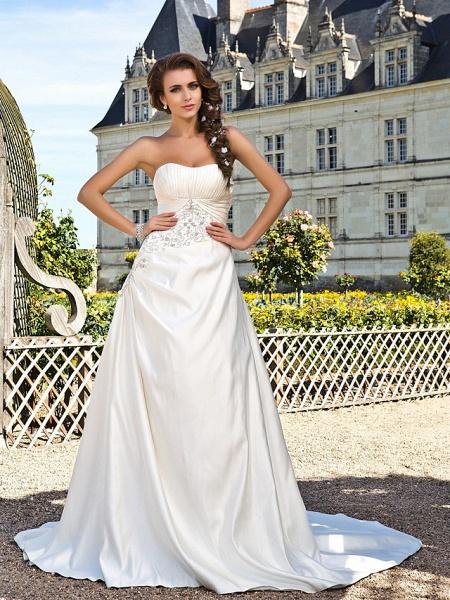Princess A-Line Wedding Dresses Strapless Chapel Train Satin Sleeveless_1