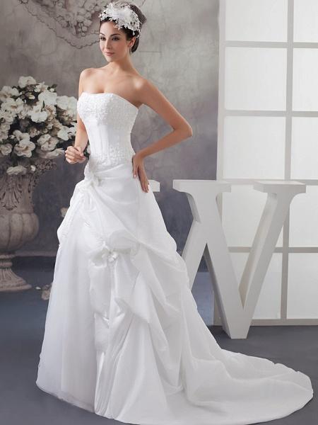 A-Line Strapless Court Train Satin Strapless Wedding Dresses_2